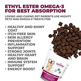 MAX Omega 3 for Dogs – Dog Fish Oil & Hip Joint Supplement. Rich in EPA & DHA Fatty Acids for Itch Relief & Dry Skin. Healthy Coat + Allergy Support. Pet Treats for Strong Immune System, Heart & Brain