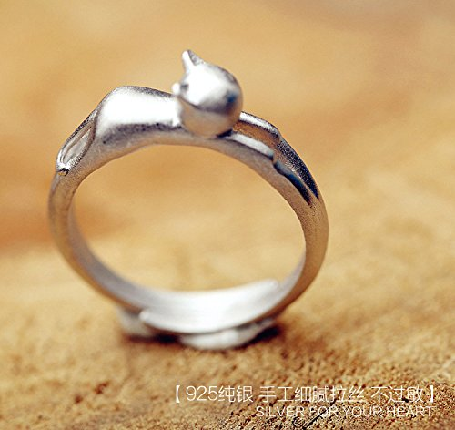 Generic Korean jewelry 925 sterling silver ring opening silver ring animal kitty girls by Generic (Image #2)