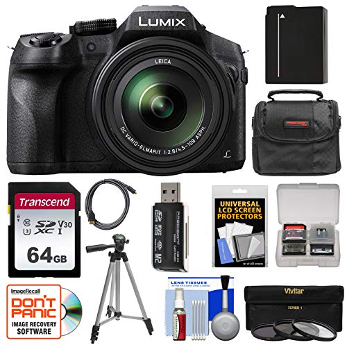 - Panasonic Lumix DMC-FZ300 4K Wi-Fi Digital Camera with 64GB Card + Battery + Case + Tripod + 3 Filters + Kit