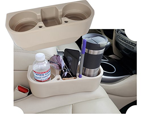 Universal Auto   Car Seat Drink Cup Holder Cell Holder Storage Bin, with Pen Hole - Beige