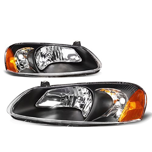 For Chrysler Sebring/Stratus Pair of Black Housing Amber Corner Headlight Replacement