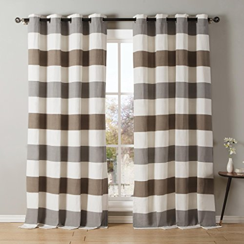 Striped Cotton Blend Grommet Top Window Curtain Pair Panel Insulated Drapes For Bedroom, Livingroom, Kids, Children, Nursery - Assorted Colors - 38 by 84 Inch, Set of 2 Panels - - Brown Grey