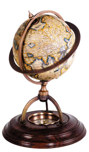 Terrestrial Globe w Compass in Brown