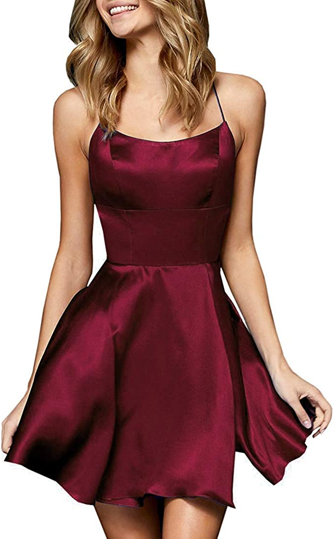 GRILSONTOP Spaghetti Max 64% OFF Satin Side Slit Short Dresses Homecoming wi Seattle Mall