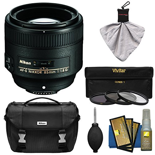 Nikon 85mm f/1.8G AF-S Nikkor Lens with Gadget Bag + 3 UV/CPL/ND8 Filters + Kit for D3200, D3300, D5200, D5300, D7000, D7100, D610, D800, D810, D4s DSLR Cameras
