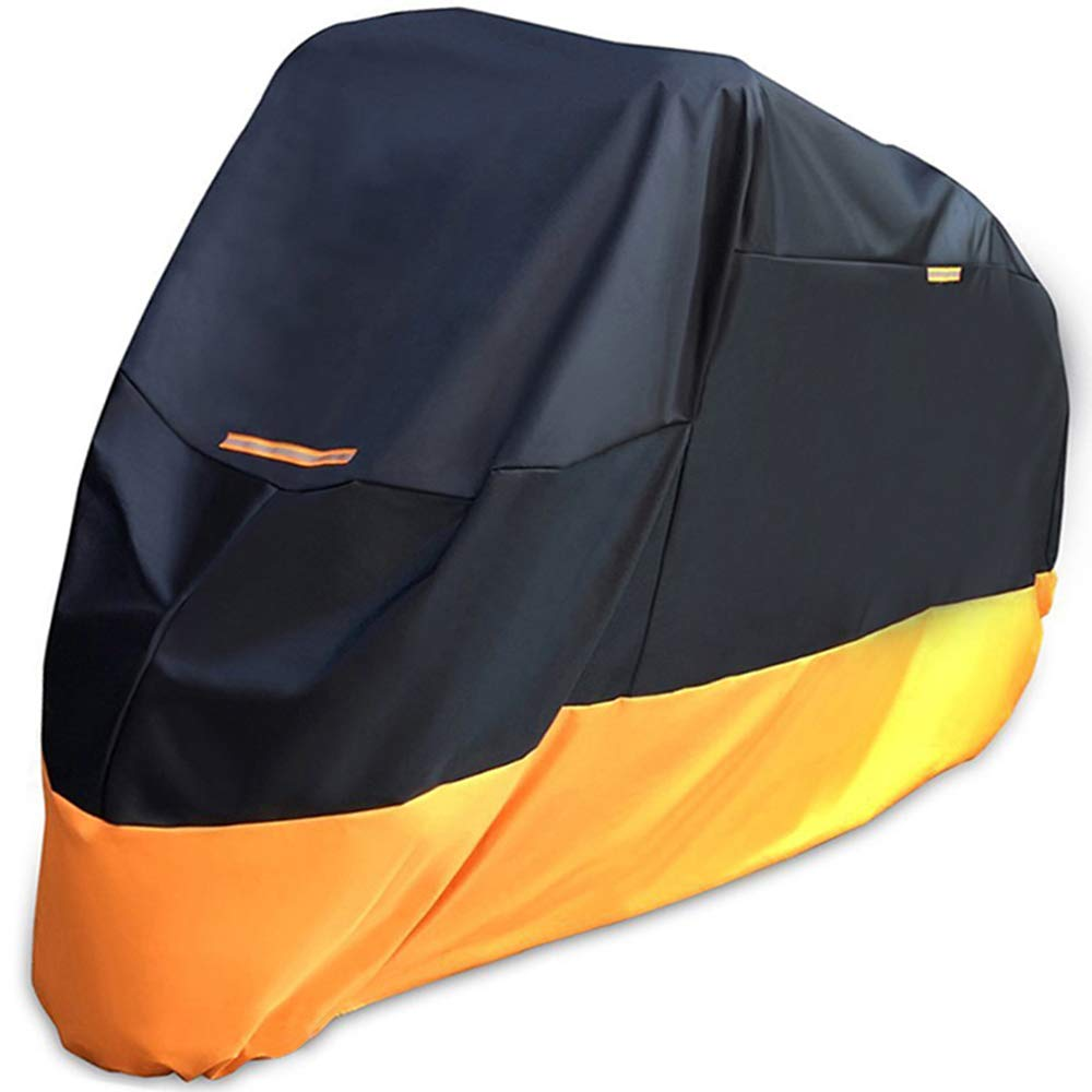 Motorcycle Cover Heavy Duty 210D Oxford Waterproof Sunblock Dustproof Outdoor XXXL Fit for Harleys Davidson Honda Suzuki (210D, Orange)