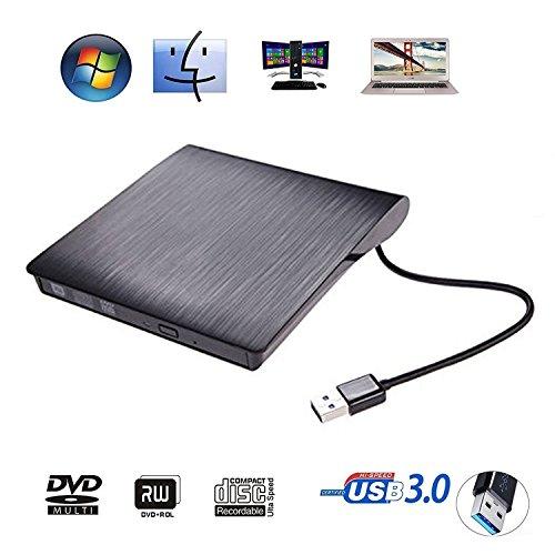 External DVD Drive USB 3.0 Ultra Portable External CD DVD Storage Drive, External DVD Writer/ Burner CD DVD RW DVD ROM Drive for Apple Macbook, Macbook Pro or other Laptop/Desktops (Black)