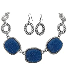 Imitation Druzy Stone Abstract Ovals Swirls Boutique Style Necklace & Dangle Earrings Set - Assorted Colors