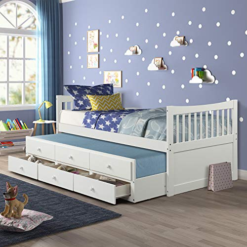 Twin Captain's Bed Storage Daybed with Trundle and Drawers for