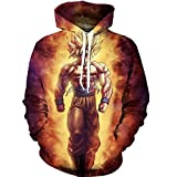PIZZ ANNU Neutral Long Sleeve 3D Printed Cartoon Dragon Ball Series Pullover Hooded Sweater Coat (0033, M)