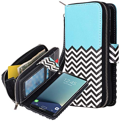 Galaxy S8 Plus Case, E LV Galaxy S8 Plus Case Cover - PU Leather Flip Folio Wallet Purse Case Cover for Samsung Galaxy S8 Plus - [Zigzag]