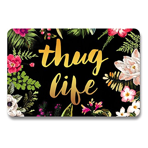 Thug Life Flowers Doormat Entrance Mat Floor Mat Rug Indoor/Outdoor/Front Door/Bathroom Mats Rubber Non Slip (30