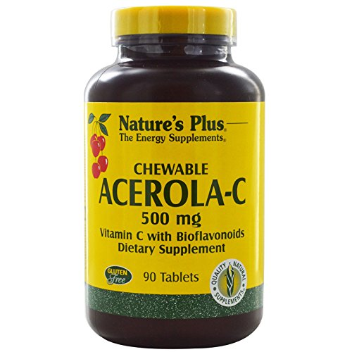 Nature's Plus, Chewable Acerola-C, Vitamin C with Bioflavonoids, 500 mg, 90 Tablets - 3PC by Nature's Plus