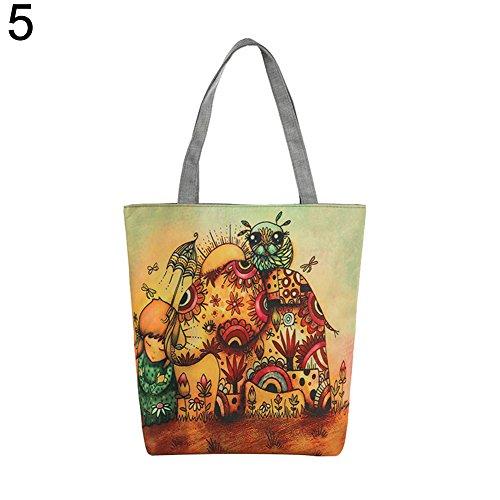 la bolso solo mujer un 3 compra lona de de casual elefante mano con FEIDAj de 5 hombro para étnico Bolsa de 4qEawa