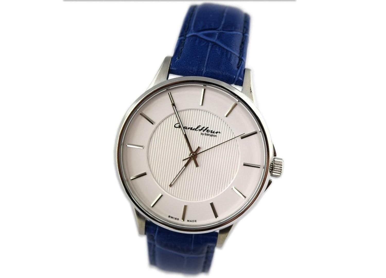 GRAND HEUR by Edington Herren Uhr Armbanduhr extra slim blau Leder F0036-AfA-L-01