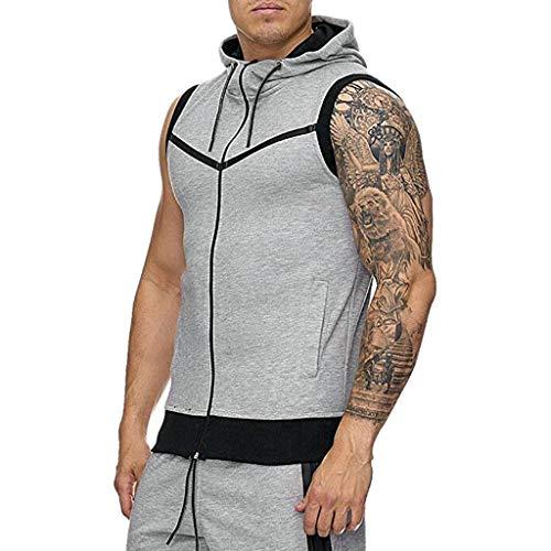 Forthery Men Sauna Sweat Vest Loss Waist Trainer Vest Zipper Workout Tank Top Shapewear(Grey,US Size M = Tag L)