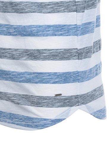 Rayas De solid Cuello Hombre Con Redondo Manga Blue Strong 1531 Corta Básica Camiseta Tet Para Erq1wpFrft