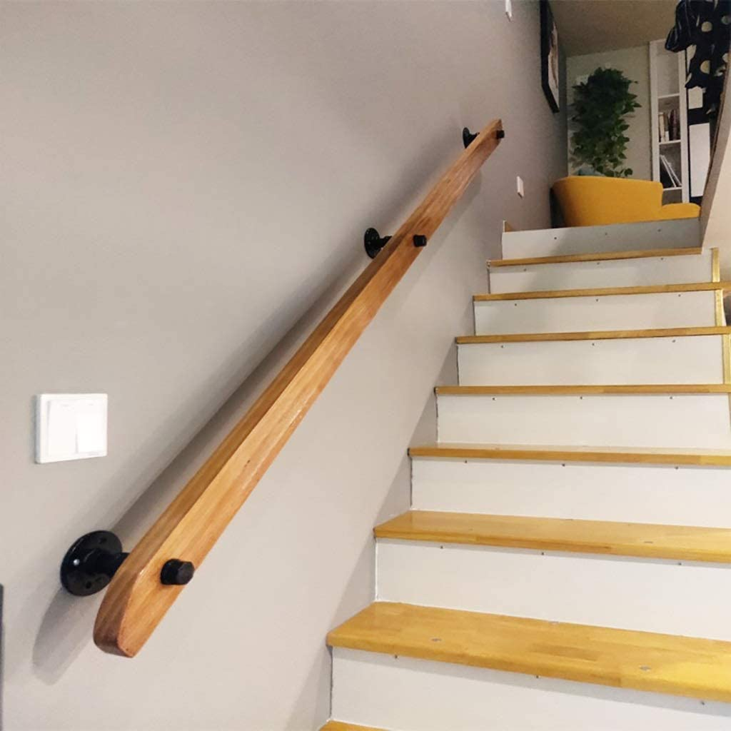 Size : 1ft-20ft Non-Slip Solid Wood Stair Handrails Home Against The Wall Indoor Loft Elderly Railings Handrails Corridor Support Rod YIKE-Handrail Wooden Handrail