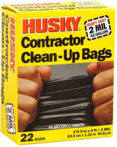 Husky Heavy Duty Contractor Clean-Up Bag, Poly, 42 gal, 4 ft L x 2 ft 9 in W x 2 mil T, Black by Husky
