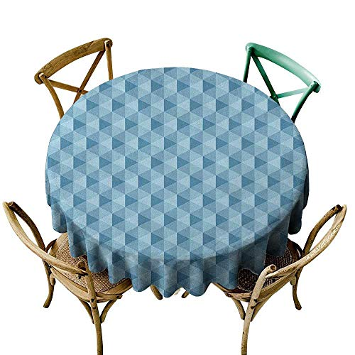 Wendell Joshua Picnic Tablecloth 60 inch Geometric,Hexagonal Pattern with Triangles Blue Colored Composition Umbrella Shapes, Blue Pale Blue Polyester Fabric Table Cloth
