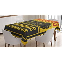 Zombie Decor Tablecloth by Ambesonne, Warning Outbreak Horror Monster Sign in Vintage Grunge Illustration, Dining Room Kitchen Rectangular Table Cover, 60 W X 90 L Inches, Earth Yellow Grey Red