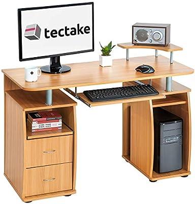 TecTake Mesa de Ordenador de Escritorio Estudiante PC Trabajo con caj/ón