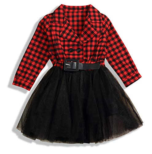 (Little Kids Baby Girl Dresses White and Black Plaid Tutu Skirt Party Princess Formal Outfit Clothes (Red, 5-6 T/120-130))