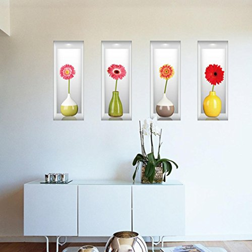 DDLBiz Fashion Stereoscopic Fresh Vases Bedroom Sitting Room Background Wall Stickers Wall Decal Creative Home Decor