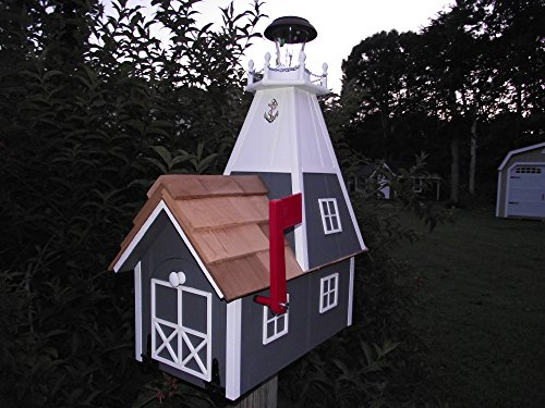 Amish Handmade Rural Mailbox Solar Lighthouse Dk. Gray