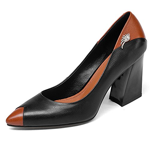 Office Women's Nine Chunky Leather Classy Shoes Toe Brown Handmade Business Heel Pointy Pumps Seven Genuine qYUtz