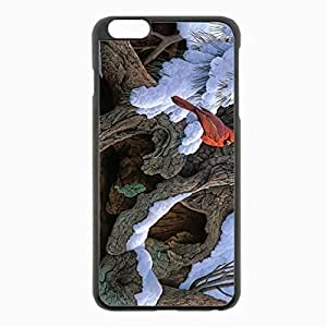 iPhone 6 Plus Black Hardshell Case 5.5inch - painting snow winter tree cardinal Desin Images Protector Back Cover