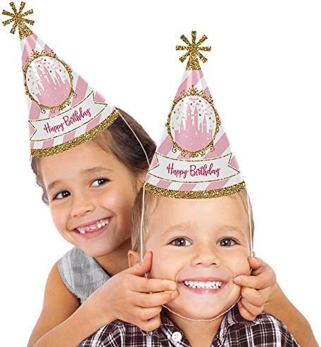 Little Princess Crown - Cone Pink and Gold Princess Happy Birthday Party Hats for Kids and Adults - Set of 8 (Standard Size)