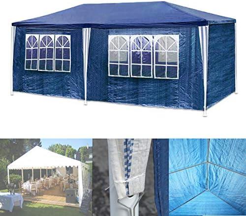 HG® Partyzelt épinglé 3x6m bleu Camping Vereinszelt Pavillon pliant de plage Construction en acier avec tiges en acier extra-épais Fenêtre étanche incl. 6 côtés détachables Festzelt