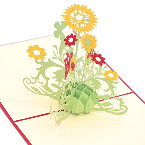 Medigy 3D Pop Up Greeting Cards Sun Flower Blank Cards for Most Occastions Yellow