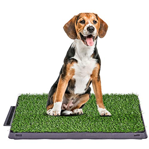 Giantex Dog Puppy Potty Pee Pad with Artificial Grass and Drawer Portable Potty Training Toilet Mat for Indoor and Outdoor Use, 25''x20''
