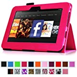 """Fintie Folio Case for Kindle Fire HD 7"""" (2012 Old Model) - Slim Fit Leather Cover with Auto Sleep/Wake Feature (will only fit Amazon Kindle Fire HD 7, Previous Generation - 2nd), Magenta"""