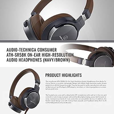 Audio-Technica ATH-SR5NBW On-Ear High-Resolution Audio Headphones (Navy/Brown) with Xpix Hard Body Headphone Case and Fibertique Cloth
