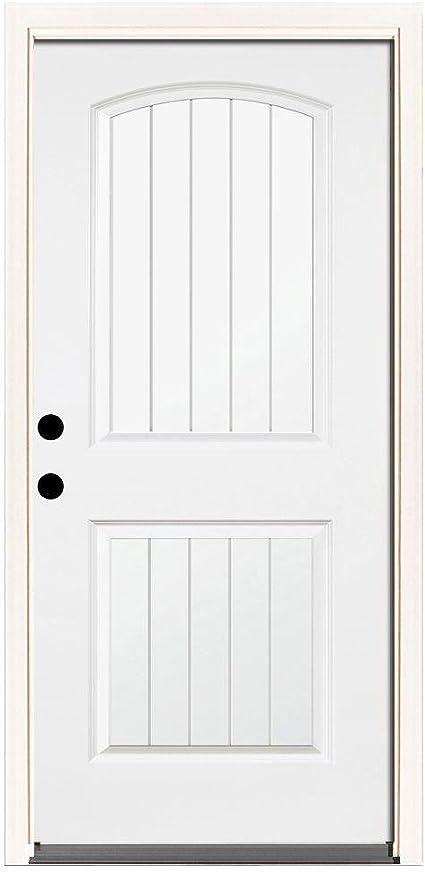 Premium 2 Panel puerta entrada de acero madera color blanco: Amazon.es: Bricolaje y herramientas