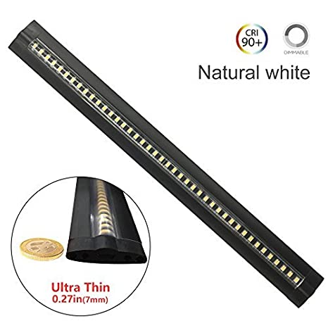 Ultra Thin Dimmable LED Under Cabinet Lighting 30cm/12in Nature White 600LM  CRI90 With All