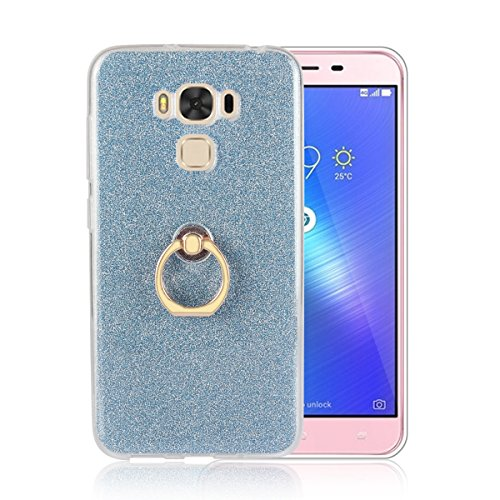 Price comparison product image Moonmini Asus ZenFone 3 Max ZC553KL. Case Cover Sparkling Slim Fit Soft TPU Back Case Cover with Ring Grip Stand Holder 2 in 246 Hybrid Glitter Bling Bling TPU phone Case Cover (Blue)