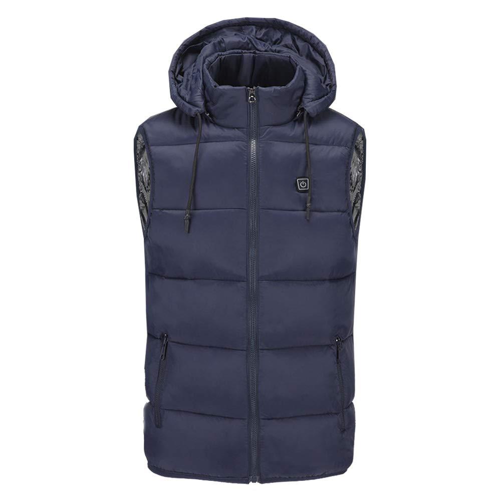 XIHAA Elektrisch beheizt warme Weste Baumwollkleidung mit Kapuze USB, leichte 5V 3-Heizstufen im Außenbereich in den warmen Mantel