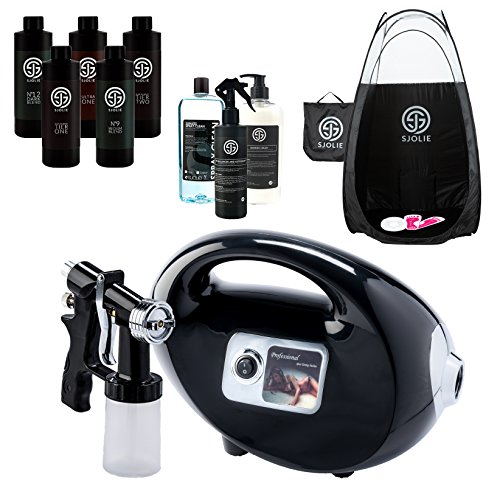 nning Machine Kit with Supplies and Professional Sjolie Airbrush Tan Solution, HVLP Spray Gun and Black Pop Up Tent ()