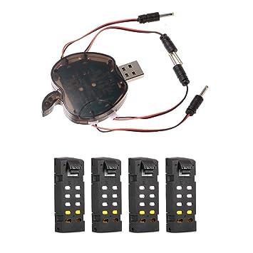 JSMeet 4 en 1 Cargador USB y 4PCS 3.7V 1000mAh Lipo batería Combo ...