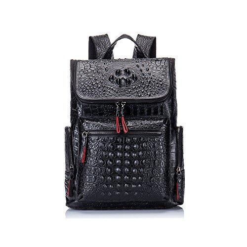 Boshiho Real Leather Laptop Backpack Fashion Travel Bag Daypack for Men (Crocodile Pattern)