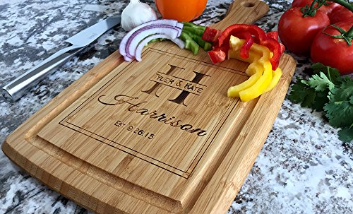 Personalized Wedding Gifts Cutting Board - Wood Cutting Boards, Also Bridal Shower and Housewarming Gifts (9 x 17 Bamboo Rectangular with Grooves, Harrison Design)