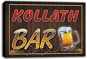 scw3-055420 KOLLATH Name Home Bar Pub Beer Mugs Stretched Canvas Print Sign