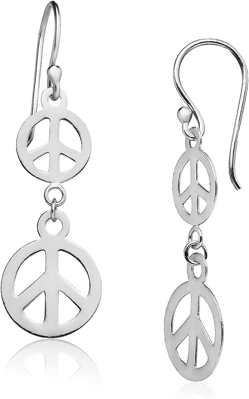 Big Apple Hoops - Summer Earrings 925 Sterling Silver Earrings for Women, Lightweight Peace Sign Dangle Earrings in 3 Colors Silver, Yellow, or Rose Gold