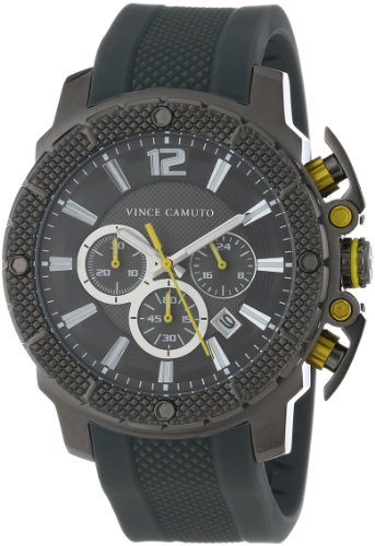 Vince Camuto Men's VC/1019DGDG The Striker Yellow Accented Grey-Ionic Plated Resin Strap Chronograph Watch