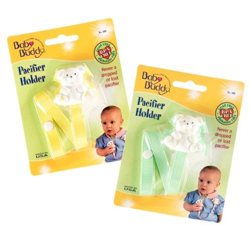 Baby Buddy 2 Piece Unisex Pacifier Holder Clip, Yellow/Mi...