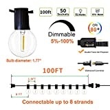 Svater Outdoor String Lights,100ft with 50 Dimmable